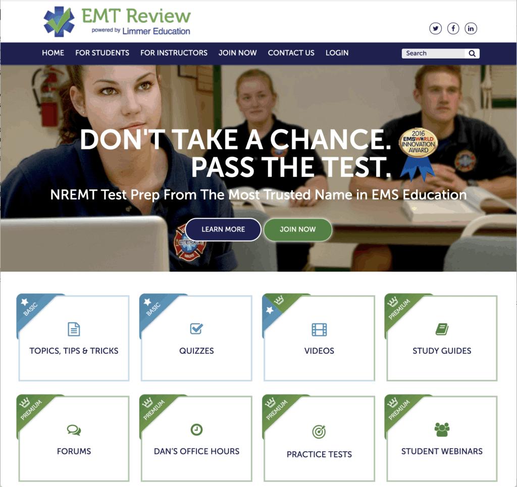 screenshot of EMTreview homepage